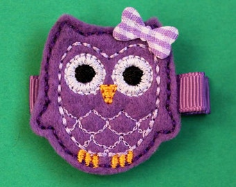 Purple Owl Felt Hair Clip - No Slip Grip