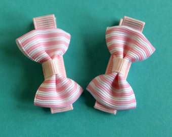 Baby Toddler Hair Bows - Pink and White Stripes Bows - Baby, Infant, Toddler