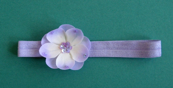 Baby Headband Lavender Satin Headband with Sequined Flower - Infant, Child, Toddler, Adult