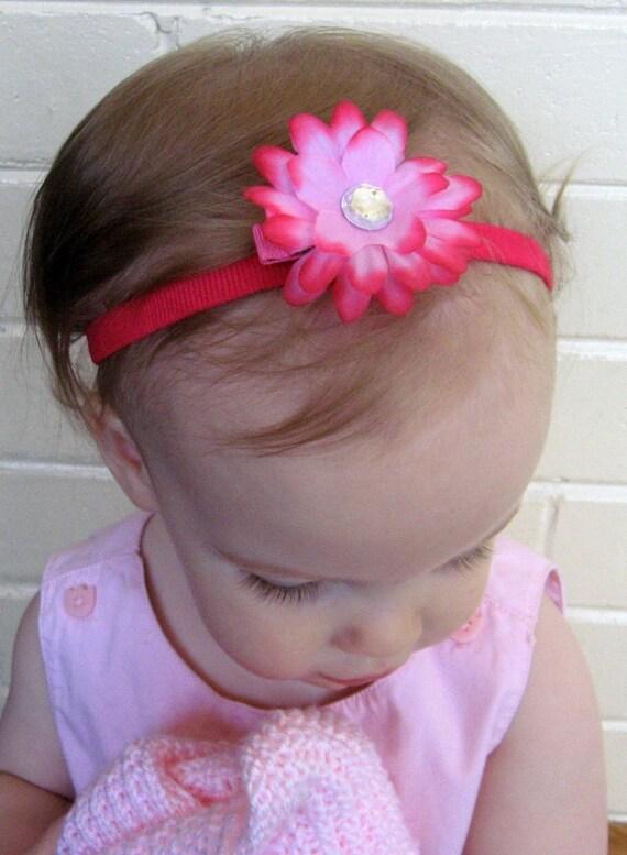 Hot Pink Daisy Flower Headband - Infant, Baby, Toddler, Child