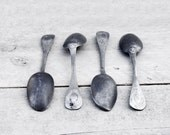 Vintage Metal Spoons: Four French tin spoons