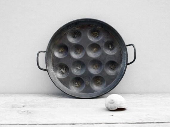 Vintage Snail Plates: Two French metal snail plates