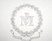 Oak leaf monogram original illustration
