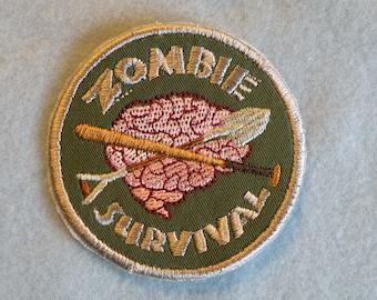 Zombie Survival Iron on Badge
