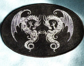 """Twin Baroque Dragons Iron on Patch 7"""" x 4.6"""""""