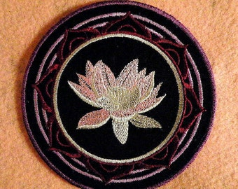 Lotus Blossom Iron on Patch 4.65 inch