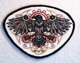 "Western Steampunk Raven Iron on Patch 3.13"" x 4.25 """