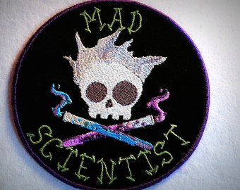 Mad Skully Scientist Iron on Patch