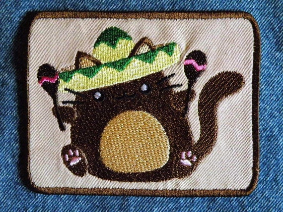 Fiesta Kitty Iron on Patch