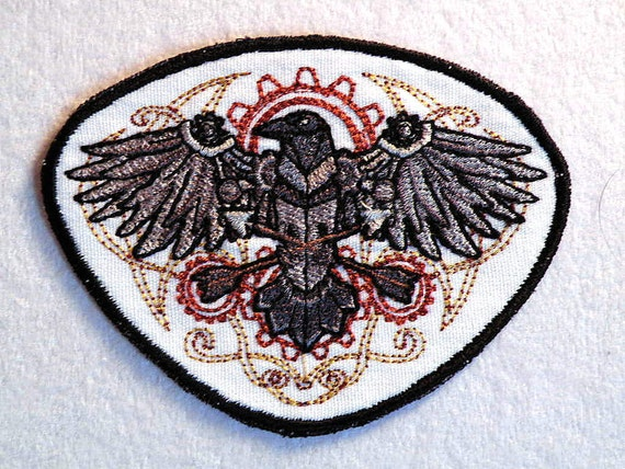 Western Steampunk Raven Iron on Patch