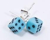 Tiny Blue Dice Stud Earrings