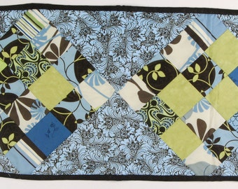 Funky one of a kind mug rug in retro prints ready to ship