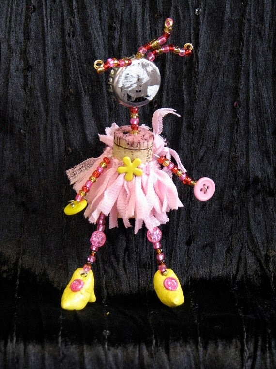 Primitive Cork Art Doll - Fancy Cork Diva