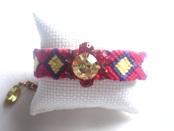 Crystal Friendship Bracelet, PURPLE, RED ,YELLOW Jonquil Navettes, Vintage Rhinestone, Siam Ruby