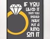 8x10 Single Ladies - Put A Ring On It Art Print Charcoal
