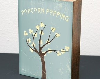Popcorn Popping • 5x7 Wood Block Art Print • Blue • LDS Mormon Apricot Tree Woodblock