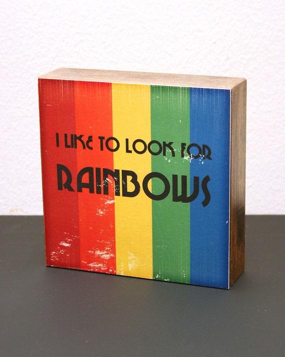 Rainbows (Stripes) 6x6 Wood Block LDS Mormon