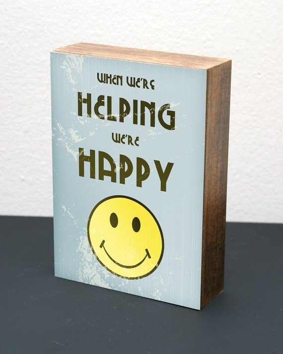 When We're Helping-5x7 Wood Block-LDS/Mormon (Blue)