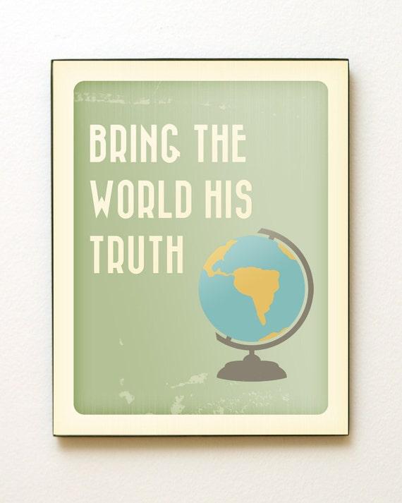 11x14 Bring the World His Truth Giclée Art Print LDS Mormon Chalkboard Globe