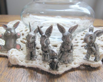 Vintage Instant Collection of Pewter Bunny Rabbits Rawcliffe Pewter