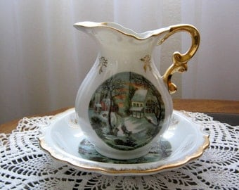 Vintage Enesco Currier and Ives The Homestead in Winter Pitcher and Bowl Set