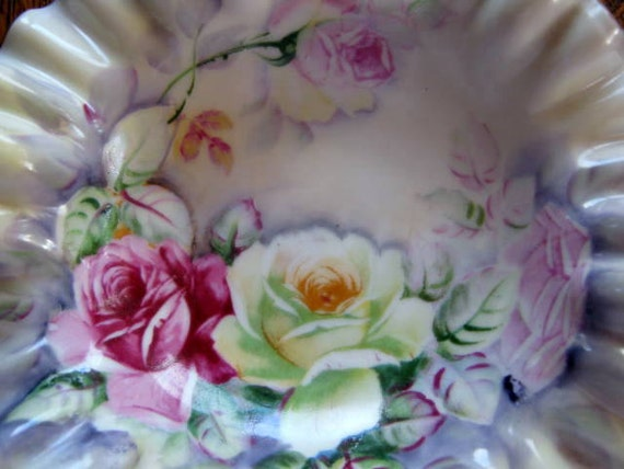 Vintage Porcelain Bowl Dish With Ruffled Scalloped Rim and Roses