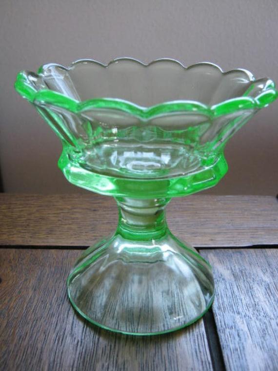 Vintage Green Depression Glass Pedestal Nut or Candy Dish