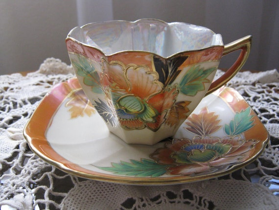 Vintage Oriental Style Egg Shell with Orange Pearl Iridescent Cup and Saucer Set
