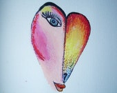Burning Heart Question Kate Perrin Unique Original  Art