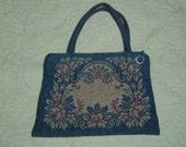 Antique Petitpoint Tapestry Tote Purse Floral Pastel Needle Point Bag