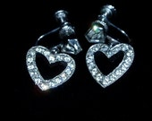 Dangle Heart Rhinestone Screw Earrings Silvertone Metal