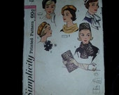 60s Simplicity Hats Sewing Pattern  4178 Pillbox Beret  W Scarves Bag Rosette