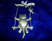 J. J. Jonette Kitty Cat Pin Movable Swinging Swing W Birds Brooch