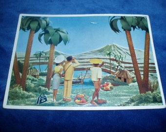 40s Hawaii Art Postcard KLM Dutch Airlines Haariem Aviation
