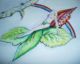 Fairy Waiting For A Rainbow Kate Perrin Unique Art