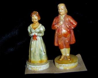 50s Sebastians Miniatures Chalkware 2 Figure Ben Franklin & Wife History