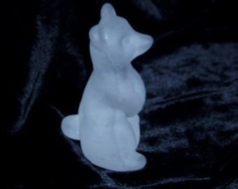 Sitting Begging Polar Bear Frosted Glass Winter Ice Figure Sculpture