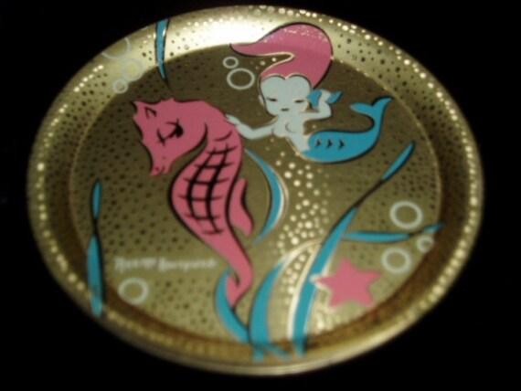 Annette Honeywell Mermaid Seahorse Retro Metal Coaster