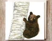 Brown bear card greetings birthday blank