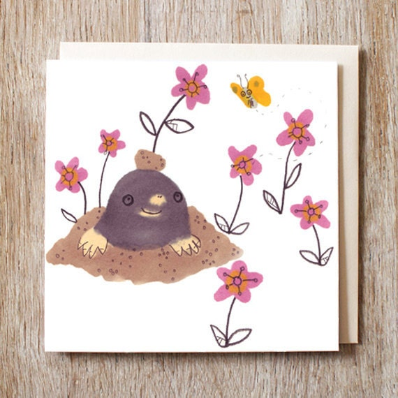 Pink Mole And Butterfly Greetings Card Birthday Blank