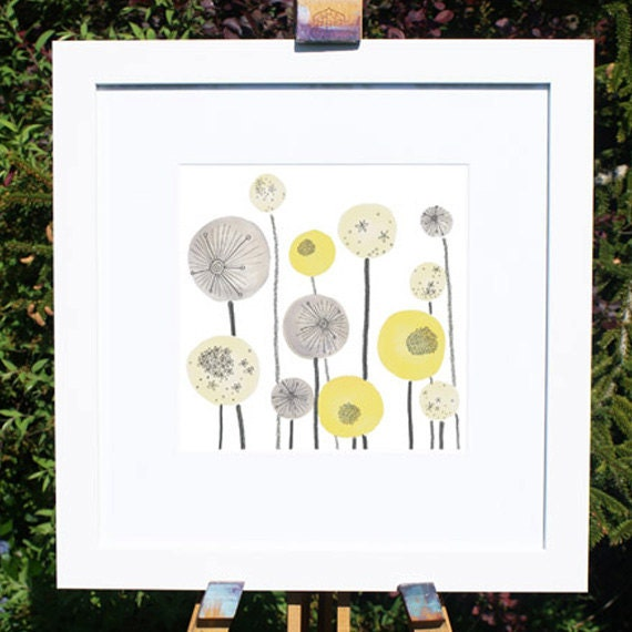 Yellow and Grey Seed head Spheres Abstract Illustration print fits into IKEA frame