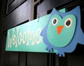 Owl Welcome Teal Blue Sign