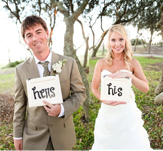 His and Hers Signs for reception chairs and photo props - wedding photography props - chair signs