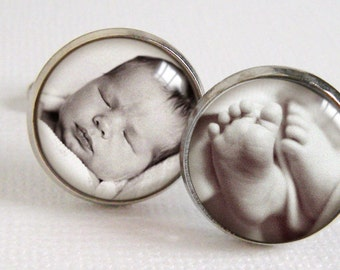 SALE! Proud Papa Cufflinks  -  Custom photo cuff links in silver for Daddy or Grandpa Fathers Day with Your Baby or Child Pictures