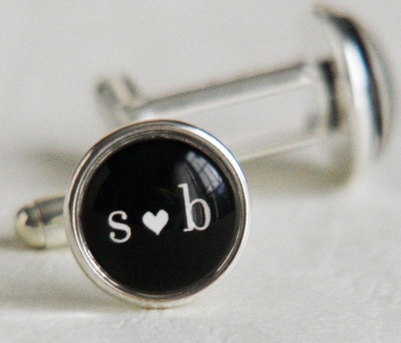 RESERVED FOR dzulli6248 -- You Heart Me Cufflinks - Your choice of Initials Under Glass -  Custom Silver Cuff Links for Him with Love - perfect for Valentines Day Men