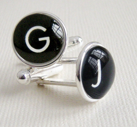 Modern Typewriter Key Cuff links - Simple silver cufflinks for fathers day, dad, engagement, groom, graduation, groomsmen or wedding day