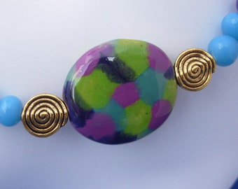 Jazzy Kazuri Bead Necklace, Earrings