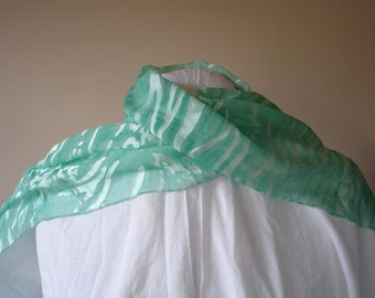 Long Green Burnout Scarf with Water Print and Long Fringe