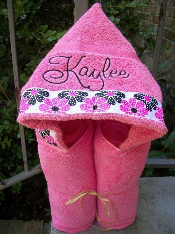 Personalized Pink Hooded Bath Towel  YOUR CHOICE of color font and ribbon