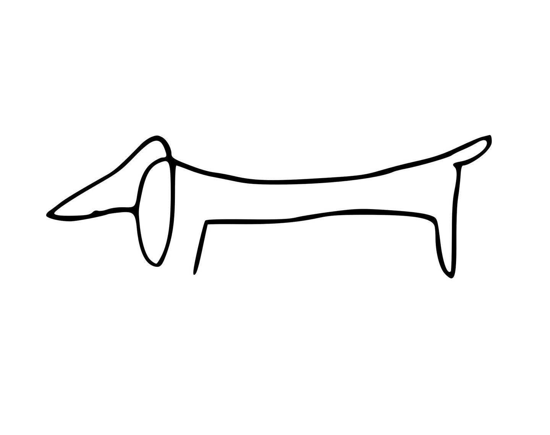 Line Art Dog Tattoo : Picasso dachshund weenie dog vinyl decal
